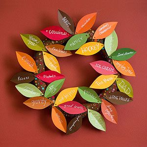 Wreath of Plenty: Each note of gratitude pinned to this leafy wreath only improves its lush look. Set out blank leaves, pens, and straight pins and ask guests to add what they're thankful for. (5 other Thanksgiving ideas also, but this is my favorite...and very doable.)