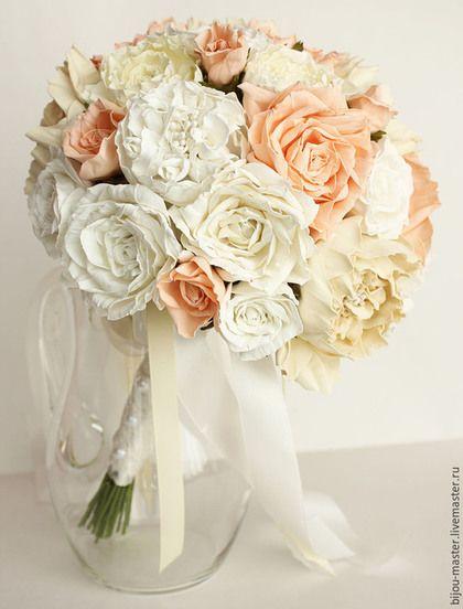 Свадебные цветы ручной работы. букет невесты ПОЦЕЛУЙ НЕЖНОСТИ. Козлова Юлия. Ярмарка Мастеров. Букет свадебный, розы и пионы