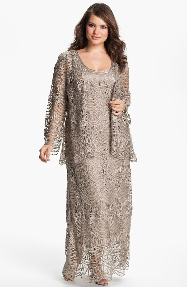 Jacket with Nordstrom Mother of the Bride Dresses | ... Cocoa Crochet Dress & Jacket Mother Of The Bride Formal Gown sz 3X