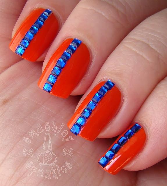 De 48 bsta broncos nail design bilderna p pinterest denver broncos nails smashley sparkles the digit al dozen does bling blue rhinestone stripe prinsesfo Image collections