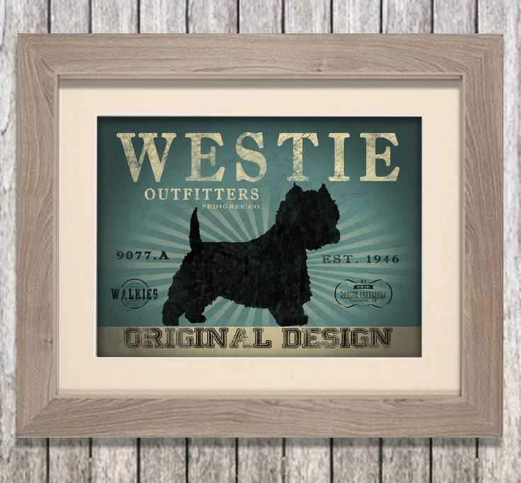 Lovely aged framed print of Westie dog. You can personalise this canvas with your dog's name too! www.monkeyofthenorth.co.uk