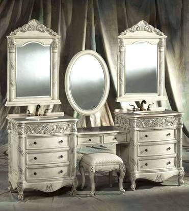 87-Inch Double Vanities with vanity Make-up Stool