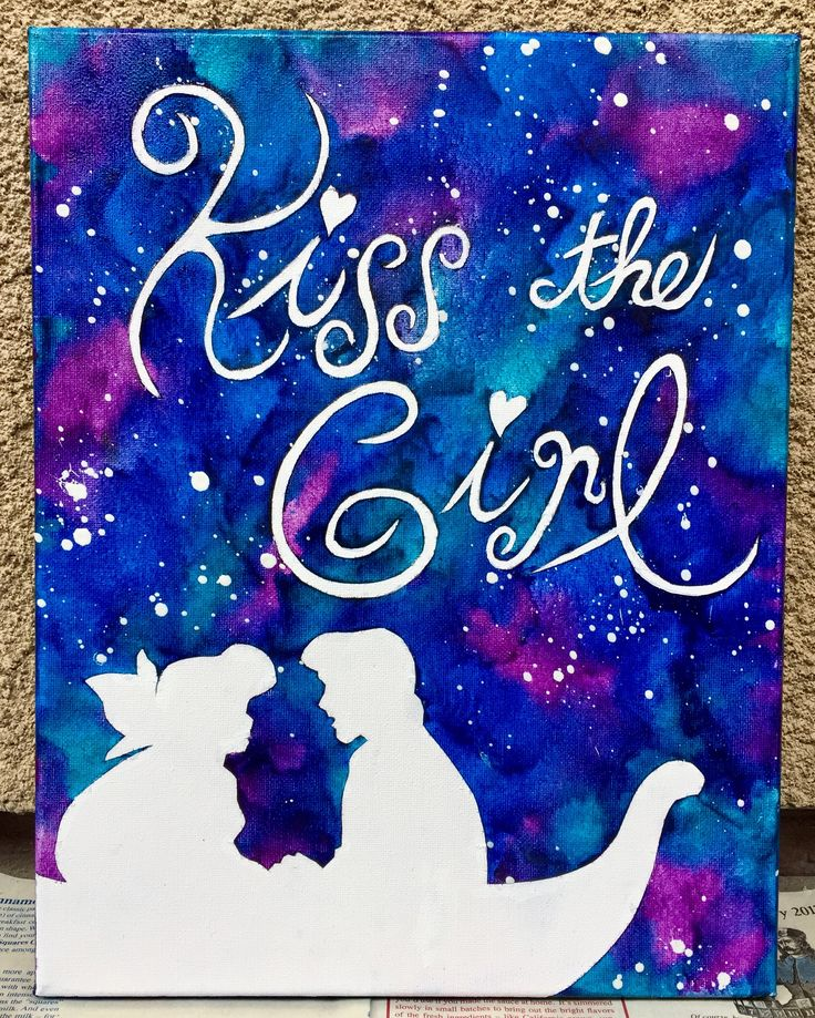 """The Little Mermaid """"Kiss the Girl"""" melted crayon art"""