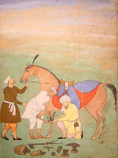 """A Scene of Men Shoeing a Horse"" A Mughal painting in opaque watercolour on paper dated 1605-1615 and attributed to Salim Quli."