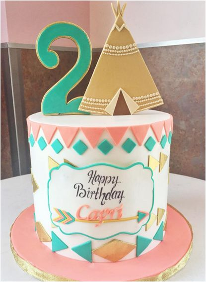 Teepee themed 2nd birthday cake done by @thecakemamas, located in Glendora