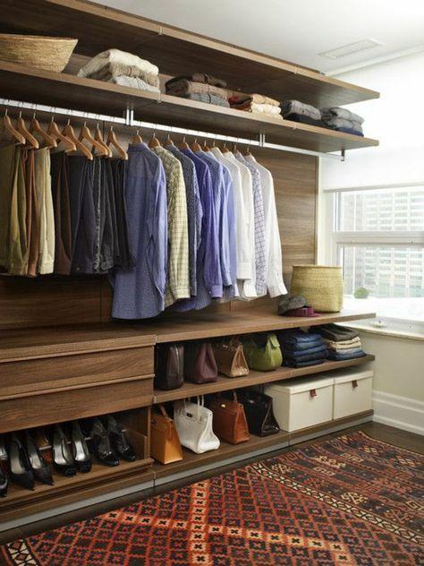 aménager un dressing, armoire-dressing en bois