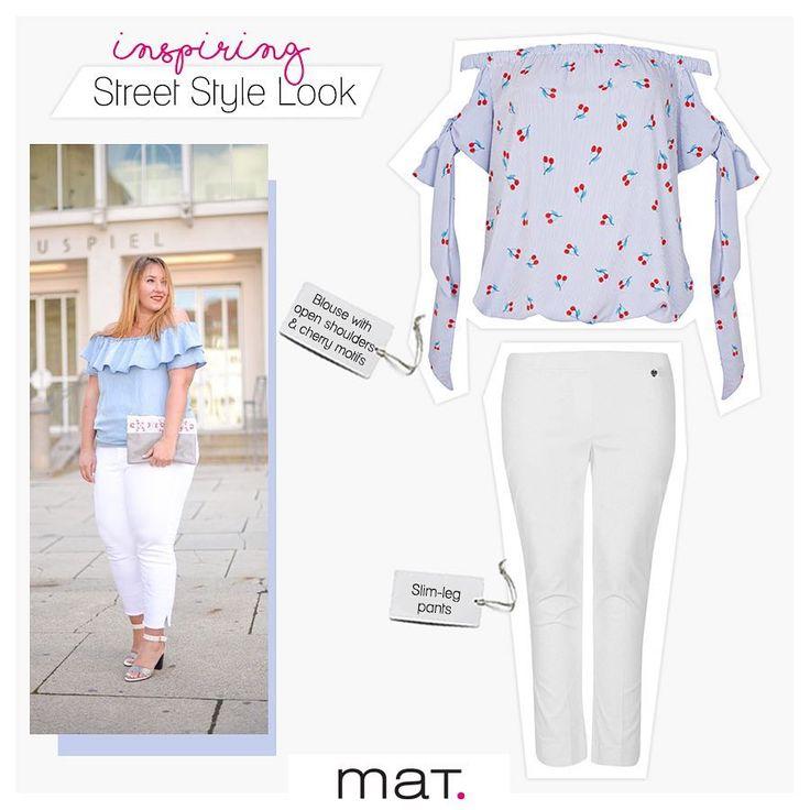 Το εμπνευσμένο street style μας δείχνει τον πιο δροσερό τρόπο να φορέσουμε το off-the-shoulder fashion trend! Με το απαραίτητο λευκό παντελόνι ως καμβά για τα πιο χαριτωμένα cherry μοτίβα!  Aγόρασε την μπλούζα ➲ code: 671.1361 Αγόρασε το παντελόνι ➲ code: 671.2076 #matfashion #ootd #cherry #fashion #inspiration #ss17 #realsize #trend #offtheshoulder #plussizefashion #style #instafashion #fashionista