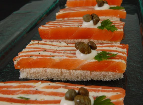 Smoked Salmon Napolean | @Omecaterer #njcatering #nycatering #caterersnj | Ome Caterers Catering NJ NY CT | Wedding Reception Ideas Decorations, Bat Mitzvahs, Charity Golf Outing, Fundraising, Corporate, Event Planner