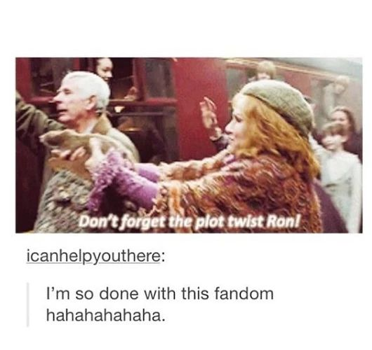Don't forget the plot twist, Ron!