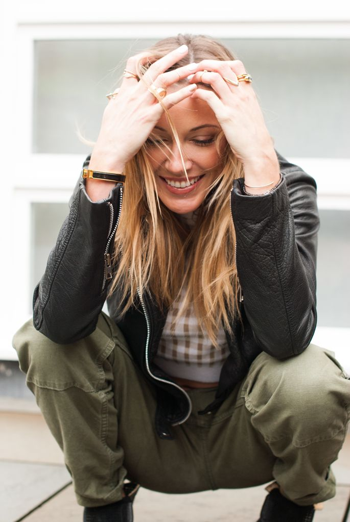 One look, Two ways: Cargo Pants   Katie Cassidy Leather Jacke