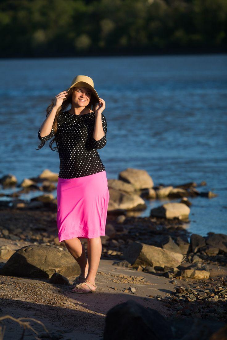 Modest bright pink swim skirt and black and white polka dot swim top by Dainty Jewell's. Modest swimwear, fashion, bridesmaid dresses in sizes S-3X. www.daintyjewells.com