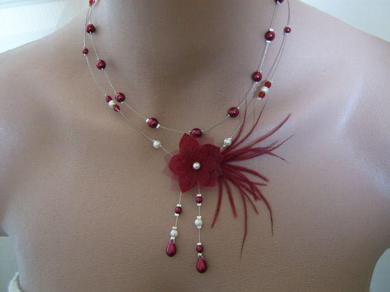 Collier Original Rouge bordeaux/Ivoire pr robe de Mariée/Mariage ...