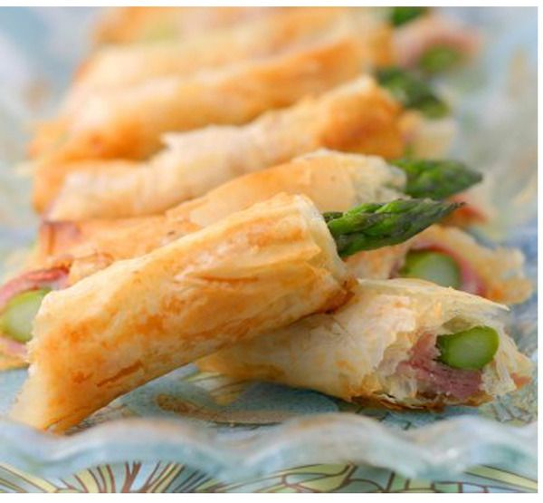 asparagus with phyllo & proscuitto