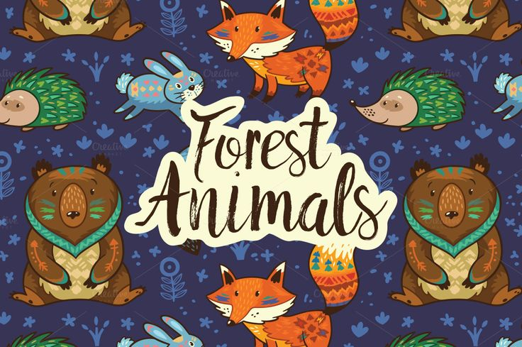 Forest animals pattern by PenguinHouse on @creativemarket