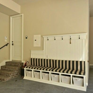 Basement Storage - bench and hooks for hanging clothes as you come in