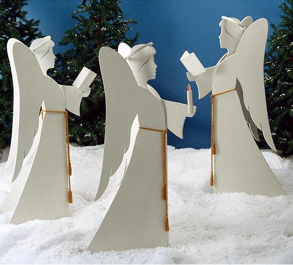 "Project Plan Angelic Chorus 1 Set of Prints: $13.95 extra set 9.95 In celebration of Christmas, express the message of the birth of Christ with the Angelic Choir. This trio looks great either gathered on the front lawn or inside the family room or living room. Cut and paint the angels in just a weekend. 48"" Tall #Christmas #angels #DIY"