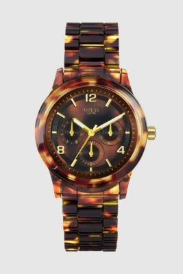 tortoise shell watch fr. GUESS