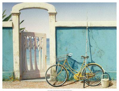 ...: Beaches Bike, Bicycles, The Doors, Bike Riding, Blue Wall, Fish Pole, Art Prints, Beaches Houses, Bike Art