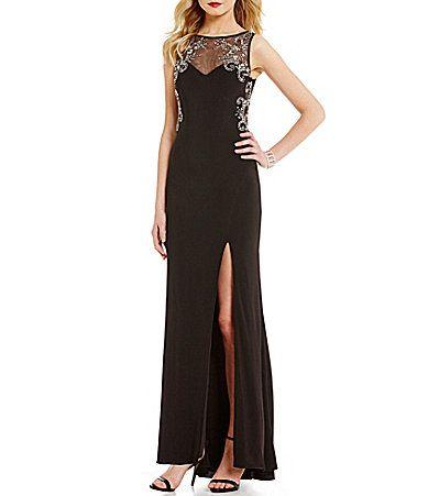 Blondie Nites Bead Outlined Illusion Yoke Long ITY Dress #Dillards
