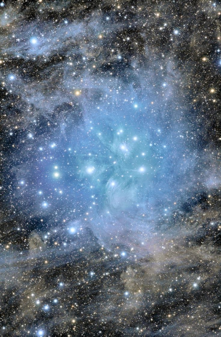 APOD: Pleiades Deep Field    Image Credit & Copyright: Stanislav Volskiy      Explanation: Have you ever seen the Pleiades star cluster? Even if you have, you probably have never seen it like this: all dusty. Perhaps the most famous star cluster on the sky, the bright stars of the Pleiades can be seen without binoculars from even the depths of a light-polluted city.
