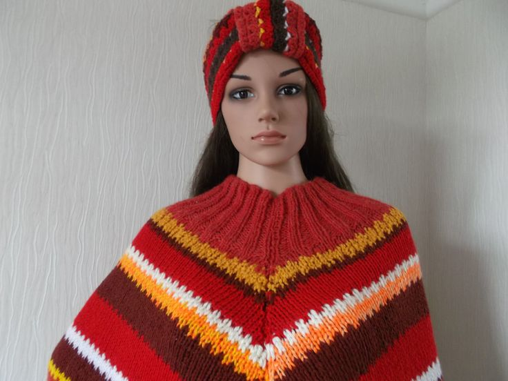 Shades of reds and brown give this hand knitted and crochet poncho and headband unique using up cycled yarn a retro look, by Stitchesincolour on Etsy
