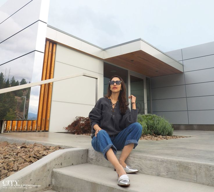 The Editors Notebook at the tasting room at Painted Rock Winery in Penticton, Okanagan, British Columbia #styleblogger #fashion #style #fashionblogger #styleinspiration #streetstyle #ootd #outfit #casual #denim #laceupsweater #calvinklein #silverloafers