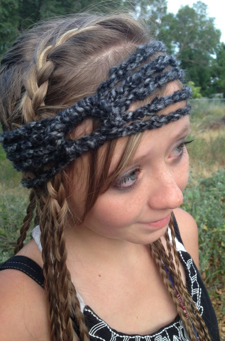 Crochet 5 strand headband with circle, Bohemian, Hippie, Black and gray, yarn by StarfawnClothing on Etsy
