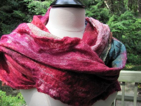 Lightweight  Rose Garden Wool/Silk Nuno Felted by FenwoodDesigns