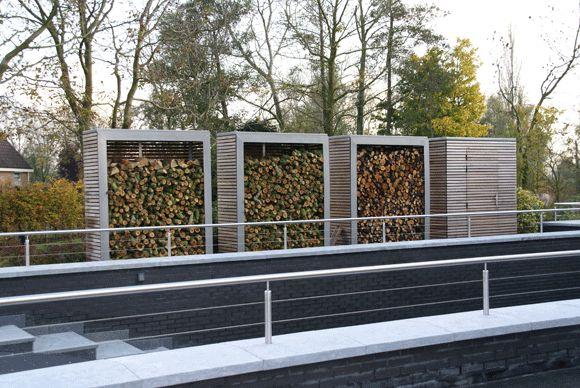 contemporary garden wood/log storage | Vis à Vis Ontwerpers » Opslag voor haardhout