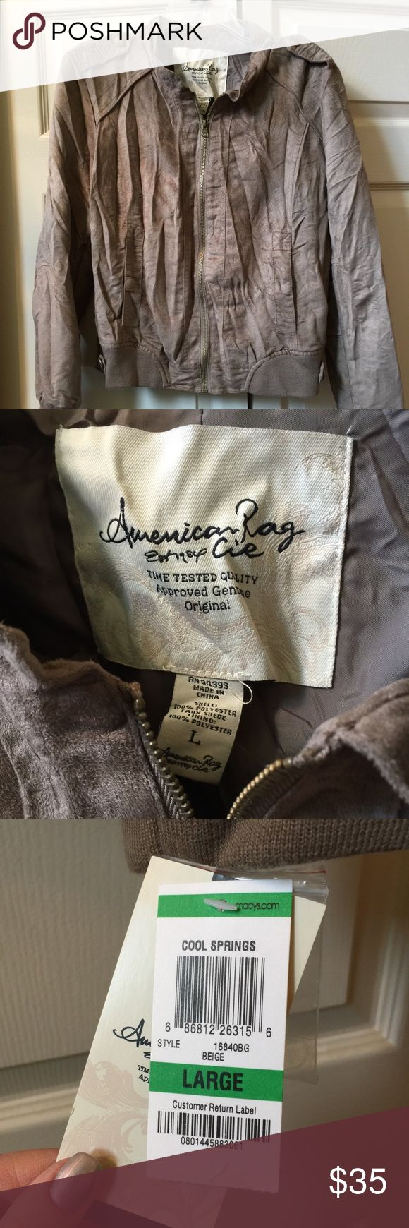 NWT American Rag Jacket NWT American Rag jacket, Size L, Taupe color, button detail on shoulders and bottom of jacket, pockets, stretch material along and around the bottom, zipper works, feels like suede American Rag Jackets & Coats