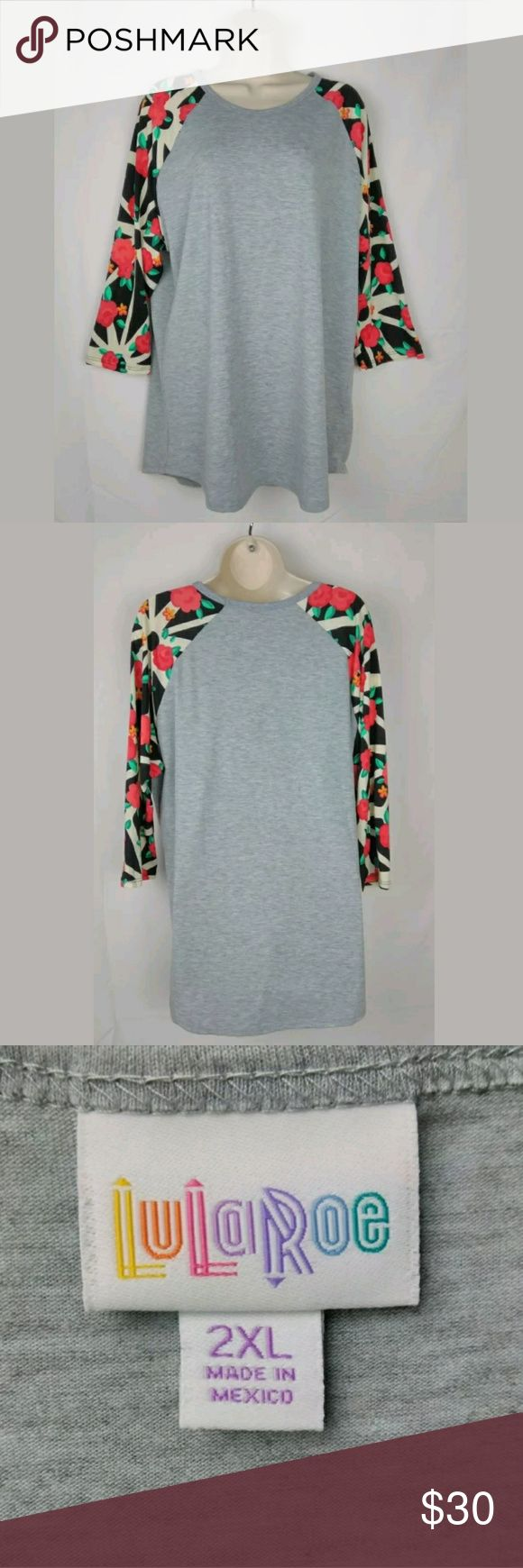 Lularoe Women's Floral Randy Tee Size 2X Lularoe Gray Randy T-Shirt Floral Pattern 3/4 Sleeves   Size 2X  Cute & casual!  EUC  Please feel free to message me if you have any questions.  Stored in a clean, smoke free and pet free environment.  Thank you (#78-B) LuLaRoe Tops