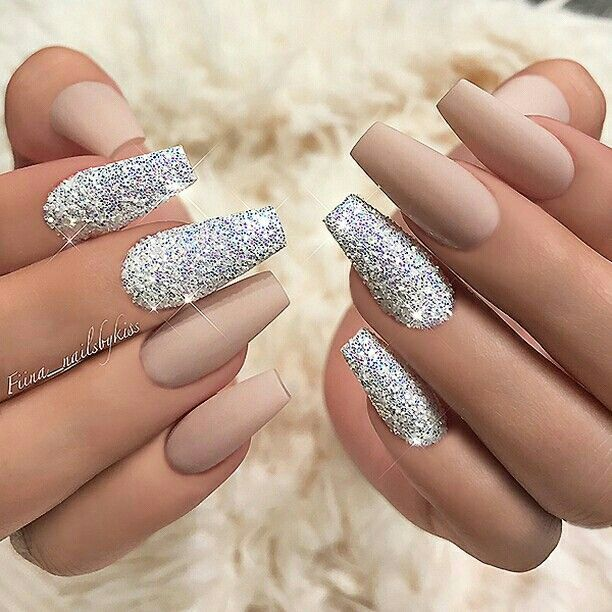 Matte nude and silver glitter nails