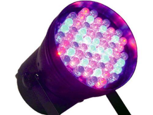 Efeito de iluminação: Canhão PAR36 60 LEDs 10mm RGB DMX Áudio-Rítmico