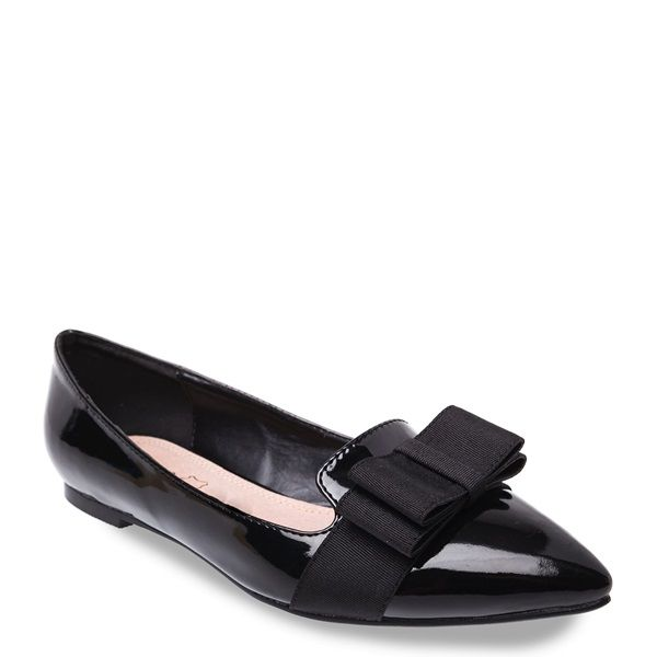 Black patent loafer with textile bow, pointed toe and low heel.