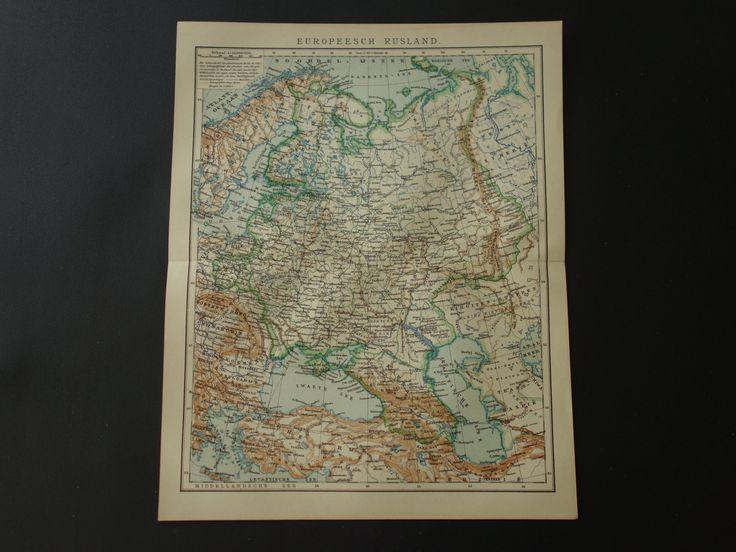 "Antique map of European Russia -  Lovely 1910 original map - Poland Finland Baltic Ukraine still part of empire карта России 10x12"" (25x31c) by DecorativePrints on Etsy"