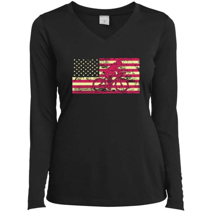 Female Cyclist Silhouette On The American Flag Ladies Long Sleeve Performance Vneck Tee