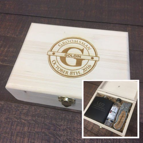 Searching for the Perfect Groomsmen Gift Set? Our Personalized Gift Sets Make Great Gifts for Your Groomsmen, Father of the Bride and Groom, Ushers, Birthday Guy, Father's Day, and More! Each Wood Gift Box is Engraved with a Laser Creating a Crisp Finish. Included is 1 Wood Gift box with crinkle paper with the option to add a flask or pocket knife, or both.