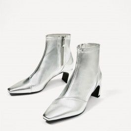 How about this shoe?  Share to get a coupon for all on FSJ Silver Chunky Heel Boots Mirror Leather Ankle Fashion Boots by FSJ