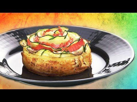 Zucchini Fingerfood – Rezept für Zucchini Blume im Blätterteig mit Käse und Lachs.