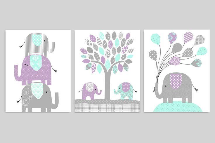 Elephant Nursery Decor, Baby Girl's Room, Girl Nursery Art, Grey Mint Purple, Baby Girl Elephant, Elephant Wall Art, Baby Art Prints, Canvas by SweetPeaNurseryArt on Etsy