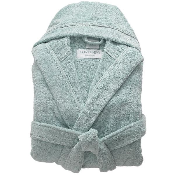 Contemporary Bath Robe Color: Ice Blue (285 BRL) ❤ liked on Polyvore featuring intimates, robes, bathroom, hooded dressing gown, hooded bath robe, blue bathrobe, blue dressing gown and blue robe