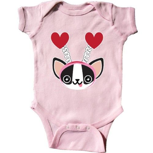 Inktastic Boston Terrier Valentines Day Infant Creeper Baby Bodysuit Kawaii Black White Headband Red Hearts Gift Love Pink Valentine Chocolate Roses Flowers Be Mine One-piece, Infant Girl's, Size: Newborn