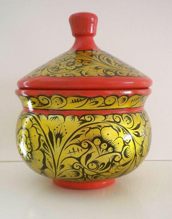 Vintage Russian hand painted Khokhloma lidded by Timebanditvintage, $20.00