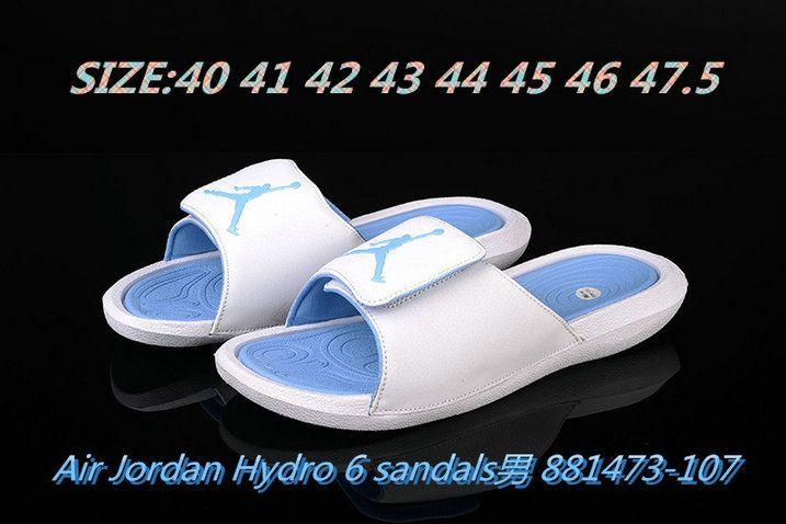 26b3cd754 2018-2019 Summer Authentic Official mens Air Jordan Hydro 6 sandals slide  slipper white-blue Big Size 13
