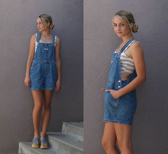 90's Levi's S/M Vintage Womens Overalls Shorts by anthropolotique
