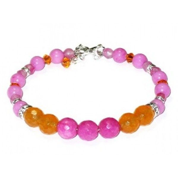 Hot Pink and Orange Semi-Precious Bridesmaid Bracelet ($38) ❤ liked on Polyvore featuring jewelry, bracelets, semi precious stone jewellery, hot pink jewelry, semi precious jewelry, semi precious stone jewelry and beaded bangles