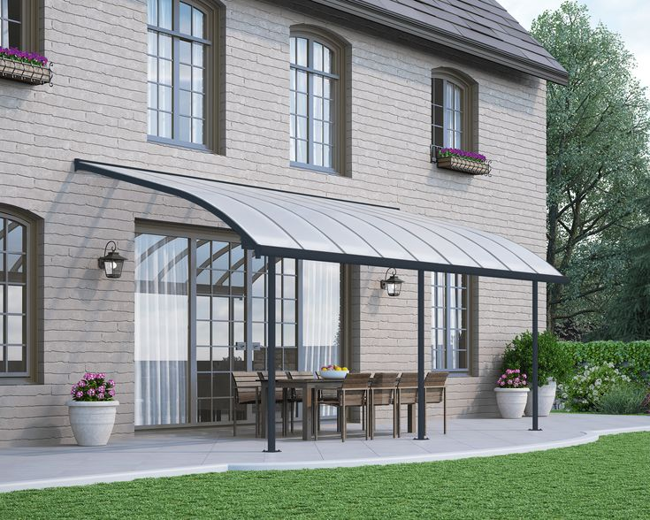 The Joya patio cover showcases a unique, aesthetic curved design along with a maintenance free and durable structure. It is simple to install and easily adjusted to fit your specific needs. Constructed of virtually unbreakable polycarbonate panels and an aluminum rust-free frame, Joya's elegant design makes a beautiful addition to your home and lifestyle. It provides you and your loved ones with an ideal lounging space; let your guard down, relax and enjoy it all year-round.