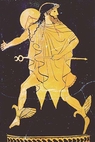 Hermès est le messager des dieux, donneur de la chance, inventeur des poids & des mesures, gardien des routes & des carrefours, des voyageurs & du commerce. Il guide les héros et conduit leurs âmes aux Enfers. Il est également le maître des voleurs.
