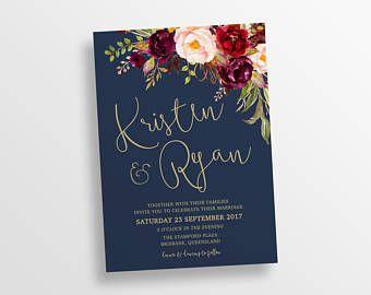 Wedding invitation, wedding invitations, printable invitation, marsala navy gold wedding templett instant download Lucy 93233