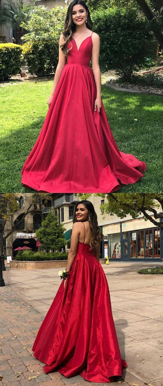 2019 A-line V-neck Simple Red Evening Dresses 641e25b4e